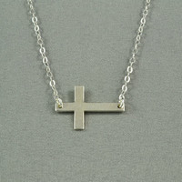 Sideways Cross Necklace, Sterling Silver, Modern, Simple, Delicate, Everyday Wear Necklace
