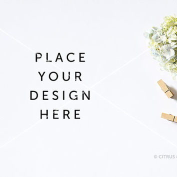 Styled Stock Photography - Product Presentation - Design Mock Up -  Hydrangea, Clothespin, Paperclip, on a Clean White Desktop