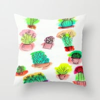 Colored Cactus Throw Pillow by Yuval Ozery