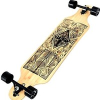YOCAHER Professional Speed Drop Down Complete Longboard Skateboard (Beach)