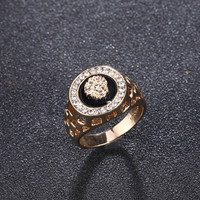new arrival luxury punk 18k genuine gold plated hollow out cubic zirconia lion men finger rings