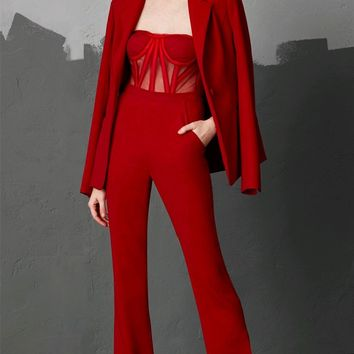 Skip A Beat Red Long Sleeve Blazer Jacket Sheer Mesh Bustier Flare Leg Jumpsuit Two Piece Set