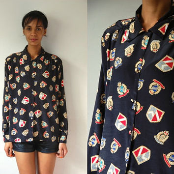 Vtg Royal Crests Print Black Button Down LS Shirt