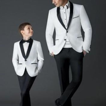 Top Sell One Button White Groom Tuxedos Men's Prom Suits Boy Tuxedos Kid's Sets (Jacket+Pants+Girdle+Bow Tie)
