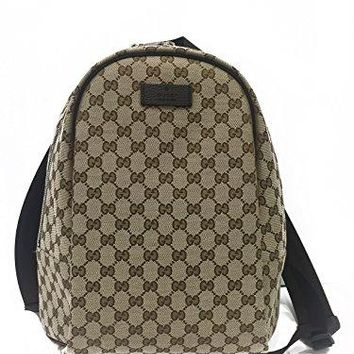 Gucci Handbag (Backpack) Beige Canvas and Brown Leather