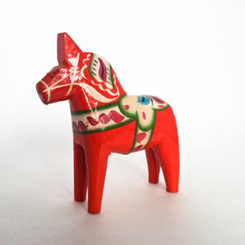 Vintage Dala Horse Olsson Grannas Red Orange Wooden Swedish Folk Art Made Sweden Wood Home Decor Christmas Hand Painted Authentic Dalahasten