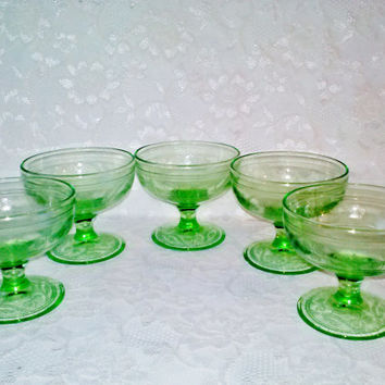 Vintage Green Hazel Atlas Set or 5 Clover Pattern Sherbet/Champagne Stem Goblets Depression Glass from Estate Home Holiday Serving Decor