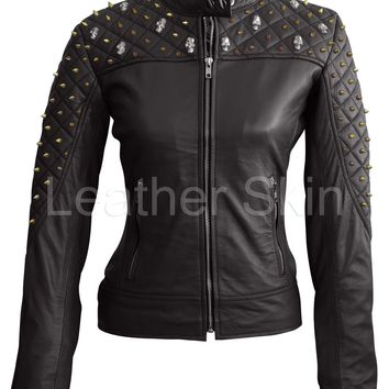 Leather Skin Women Black Shoulder Quilted with Gold Studs and Skeletons Genuine Leather Jacket