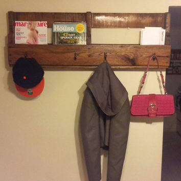 Rustic pallet wood entry way organizer, entry way rack, wood mail organizer, wood hallway organizer, wood accessories rack, mother's day