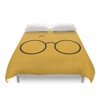 Harry Potter Duvet Cover, Geek Bedroom, Children Duvets, Kids Bed, Bedding Gift, Minimal Concept, Yellow, Glasses, Twin, Full, Queen, King