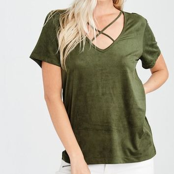 Faux Suede Cross Strap Top in Olive