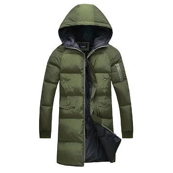 New style winter Men's casual fashion long cotton quilted jacket The man's long jacket coat men