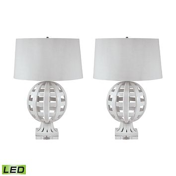 274/S2-LED Open Work Ceramic Globe LED Table Lamp In White