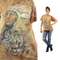 Native American shirt Southwestern Indian Chief tshirt slouchy oversize animal tee Vintage 1990s Graphic top Large