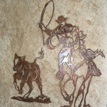 Cowboy Roping Calf Metal Wall Art Rodeo Home Decor