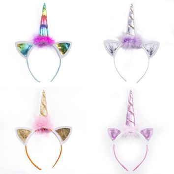 Cute Decorative Magical Unicorn Horn Head Party Ear Hair Headband Fancy Dress Rainbow Gold Cosplay Costume 1PC