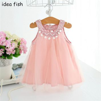 IDEA FISH Girls Summer Tutu Dresses For Girls 2017 Children Kids Dress Ball Gown 0-2T pink grey