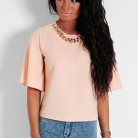 Caramac Nude and Gold Chain Chiffon Blouse | Pink Boutique