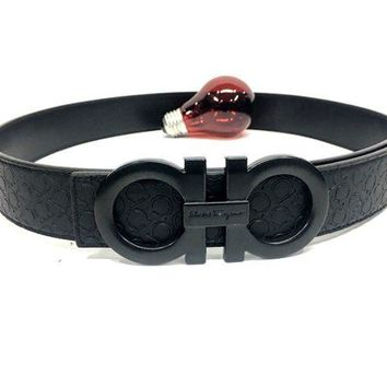 Gotopfashion Salvatore Ferragamo Belt Men 36 All Black Leather Designer Fashion Waistband RH
