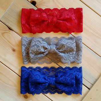 Lace Bow Headwrap - Stretch Lace Bow Headband