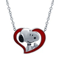 Peanuts Snoopy Diamond Accent Heart Pendant in Sterling Silver
