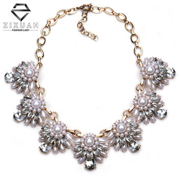 New Fashion Za Brand Pearl Jewelry Luxury Crystal Statement Chunky Chain Choker Pearl Necklaces & PendantsCollares Women