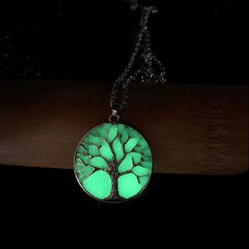 Glow In The Dark Luminous Tree Evil Supernature Necklace Punk Caduceus Symbol Rose Coin The Elder Scrolls Fairly Angle Pendant