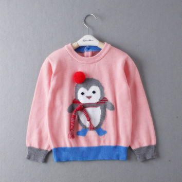 1-4T 2015 New Clothing For Baby Girl Knitted Sweater Spring Autumn Baby Clothing Wear owl pattern Sweaters Girls Winter clothes
