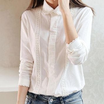 White embroidery Blouse Women office Button Lace mori girl Down Collar Splice Long Sleeve Cotton Tops Shirt Plus Size feminina