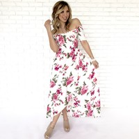 Song Of Love Floral Print Maxi Dress In Ivory