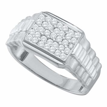 10kt White Gold Men's Round Diamond Rectangle Cluster Ribbed Ring 1/2 Cttw - FREE Shipping (US/CAN)