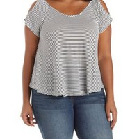 Plus Size Striped Cold Shoulder Swing Tee