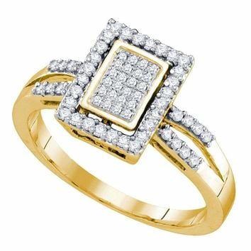 10kt Yellow Gold Women's Round Diamond Rectangle Frame Cluster Ring 1-3 Cttw - FREE Shipping (US/CAN)