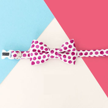 Claire Cat Bow Tie Collar - Magenta Polka Dot - Breakaway Safety Buckle - Sizes for Cat, Kitten, Dog