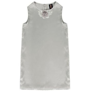 Silver Grey Charmeuse Sleeveless Cute Summer Party Shift Dress - Girls