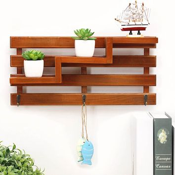 Vintage Wall Shelves Wooden 3 Layer Bathroom Bathroom Storage Rack Living Room Kitchen Shelf Decoration