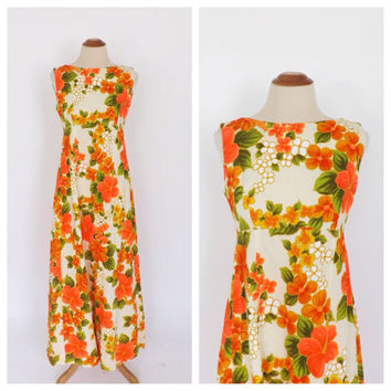Vintage 1960s Ui Maikai Long Maxi Gown 60s Hippie Dress 70s Avant Garde Groovy Neon Floral Print Tiki Dress Hawaiian Prom Gown