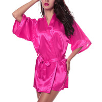 Women's SILK Sexy Peacock Kimono Robes Gown Bathrobe Babydoll Lingerie