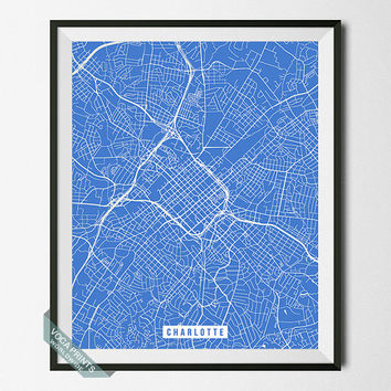 Charlotte Print, North Carolina Poster, Charlotte Street Map, North Carolina Print, NC, United States, Room Decor, Wall Art, Back To School