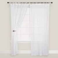 White Crinkle Voile Cotton Curtain - World Market