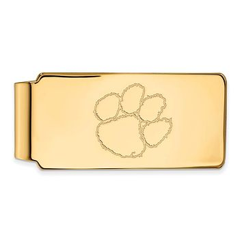 NCAA 14k Gold Plated Silver Clemson U Money Clip