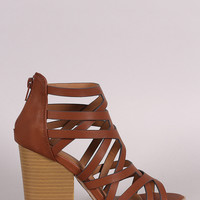 Qupid Strappy Overlapping Caged Chunky Heel