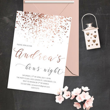 Printable Bachelorette Party Invitation Gold Glitter Invitations Rose Gold Bridal Shower Invitation Hens Night Invitation Hens Night Party