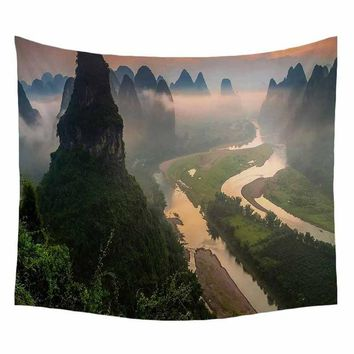 Landscape Painting Tapestry Waves Lavender Odd Mountains Waterfalls Home Decorative