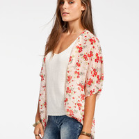 Full Tilt Floral Print Womens Kimono Multi  In Sizes
