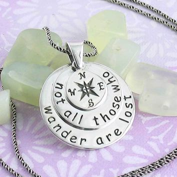 Not All Who Wander Are Lost Compass Necklace in Sterling Silver