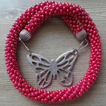 Amaranth pink seed beads crocheted necklace,crocheted necklace, butterfly necklace,gift necklace, seed beads necklace