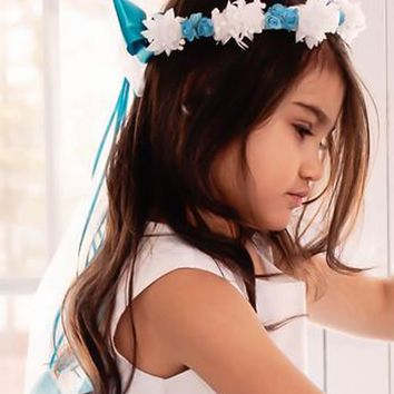 Aqua Blue Floral Crown Wreath Handmade with Silk Flowers, Back Satin Ribbons & Bows (Girls)