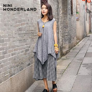Summer Women sleeveless pure color plaid cotton linen dresses New 2017 irrgeular loose waist vintage dresses for female 88151