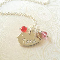 Nana Necklace-Thai Silver Chick Charm Hand Stamped with Nana with Birthstones of Choice-Gift for Nana/Gift for Grandma